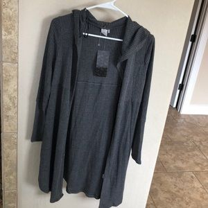 Brand new grey cardigan w/ hood